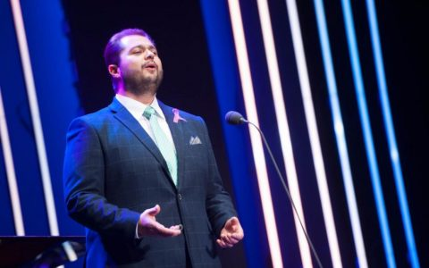 El tenor tinerfeño Celso Albelo, en su actuación durante los Premios Taburiente 2017